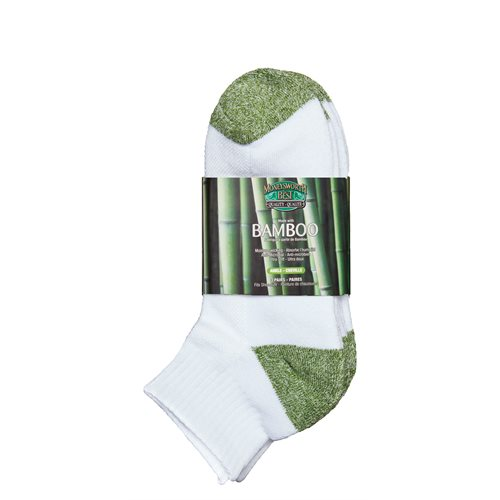 BAMBOO ANKLE SOCKS - 3 PACK - MEN'S - GREEN / WHITE
