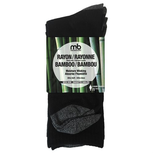 BAMBOO RAYON CREW SOCKS - 3 PACK - WOMEN'S - BLACK / GREY
