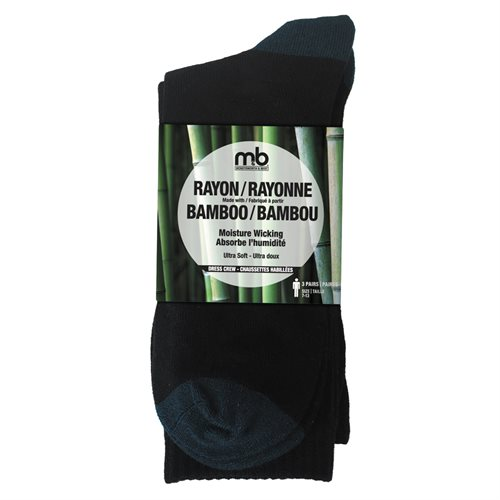 BAMBOO RAYON CREW SOCKS - 3 PACK- MEN'S DRESS CREW - BLACK / BLUE