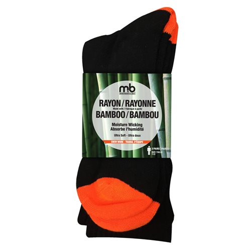 BAMBOO RAYON CREW SOCKS - 3 PACK - MEN'S - WORK CREW - ORNAGE / BLACK