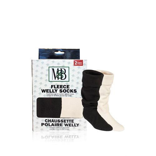 FLEECE WELLY SOCKS - FLEECE CUFF BLACK & CREAM - 2 PRS