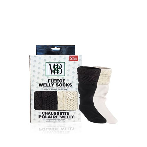 FLEECE WELLY SOCKS - KNIT CUFF MOTIF BLACK & BLACK - 2 PRS