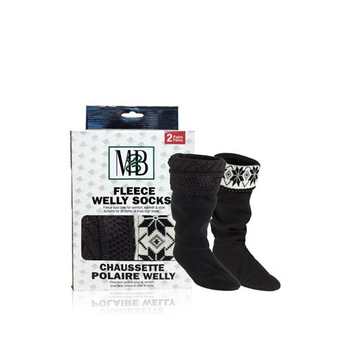 FLEECE WELLY SOCKS - FLEECE CUFF BLACK & BLACK KNIT MOTIF - 2 PRS