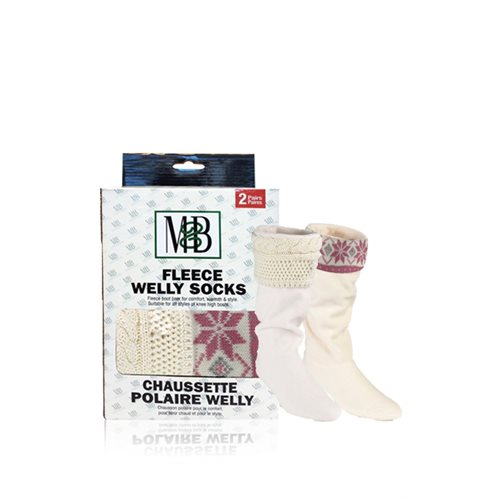 FLEECE WELLY SOCKS - KNIT CUFF MOTIF CREAM & PINK - 2 PRS