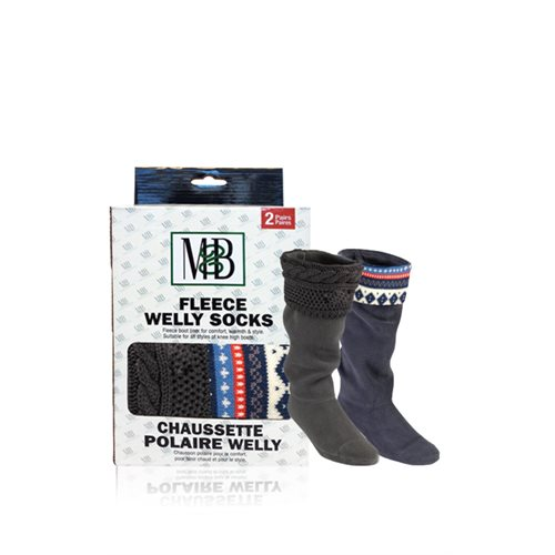 FLEECE WELLY SOCKS - KNIT CUFF - MOTIF GREY & BLUE - 2 PRS